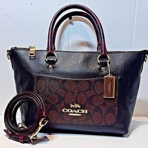 COACH Mini Emma Black Leather w/Exotic Trim F38053